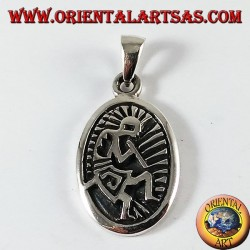 kokopelli pendant in silver