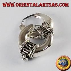 orecchini d' argento a cerchio mezzaluna decorati piccoli