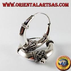 Orecchini d'argento a cerchio mezzaluna decorati medio