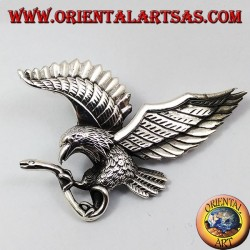 Silver pendant golden eagle catching a snake