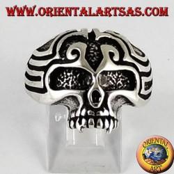 Silver ring skull Maori