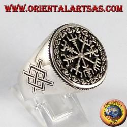 Bague en argent, vegvisir avec Gungnir, la lance d'Odin, Rune