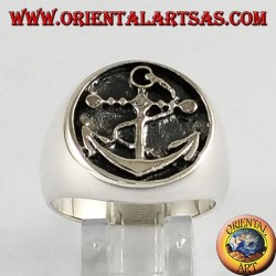 Anello d'argento sigillo àncora