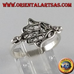 Anello d'argento Mano di fatima Hamsa