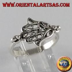 Серебряное кольцо Рука Фатимы Хамса