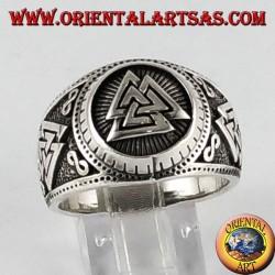 Silver ring Valknut symbol Odin