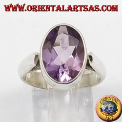 Silver ring with natural Amethyst faceted oval