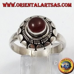 Silver ring with natural round carnelian