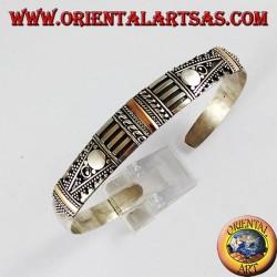 Bracciale d'argento, con tre placchette in oro 14 carati fatto a mano