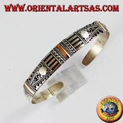 Silver bracelet with three plates 14K gold hand-made