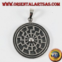 Silver pendant sun black solar wheel, large inlaid