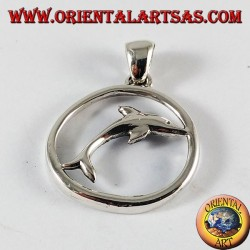 Silver Pendant dolphin jump in the circle