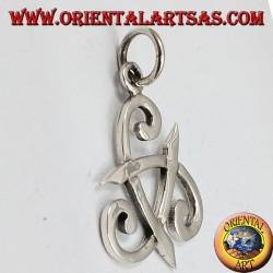 Ciondolo in argento, tricorno di Odino o corno triskell