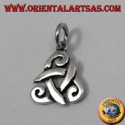 colgante de plata, sombrero de tres picos de Odin o triskell cuerno (pequeño)