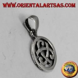 Ciondolo in argento, tricorno di Odino nel cerchio