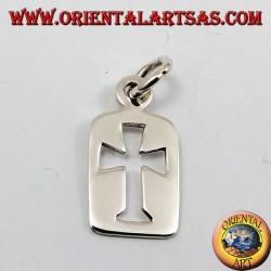 Anhänger geschnitzt Kreuz in einer Silberplatte