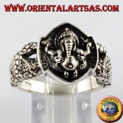 Anillo de plata de Ganesh, el dios elefante
