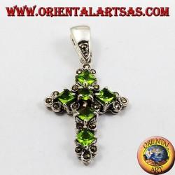 pendant, silver cross and marcassiti with six peridot