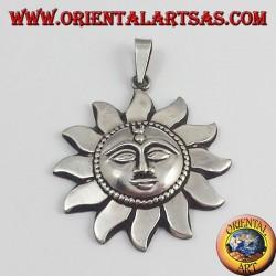 pendentif argent,  soleil népalais
