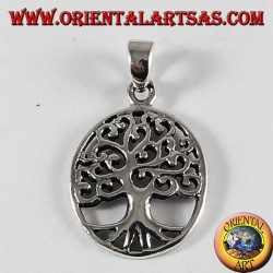Silver pendant, tree of life (oval)