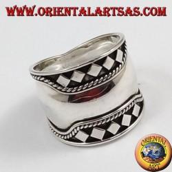 Silver wide band ring, Bali, rhombus