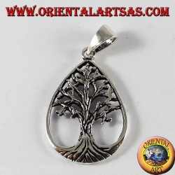 Silver pendant, tree of life (in drop)