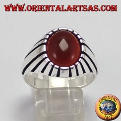 Серебряное кольцо (для мужчин) с овальным сердоликом