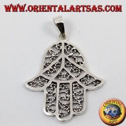 Ciondolo d'argento Mano di fatima traforato Hamsa