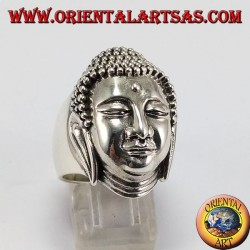 Silver Buddha head ring