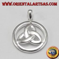 Colgante de plata, de nodo tyrone Triquetra en el pequeño círculo