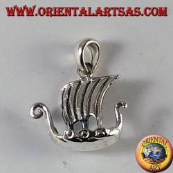 Silver Pendant Viking Sailing Ship, Drakkar