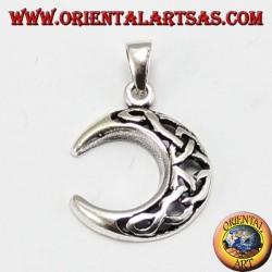 Ciondolo d'argento, luna con nodo celtico