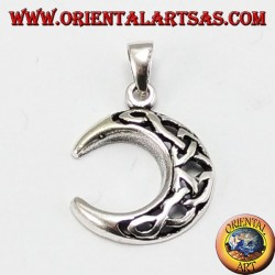 Silver pendant, moon with Celtic knot