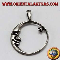 Silver pendant, moon staring at the star