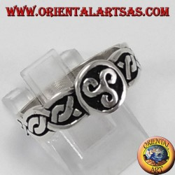 Silver ring, triskell with Celtic weave