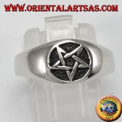 Silver ring, small bas-relief pentacle