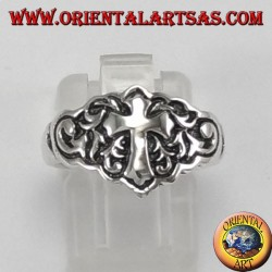 Silver ring for little finger with cross