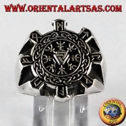 Anello d'argento , vegvisir compasso celtico