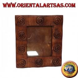 incrusté de cadre en bois en spirale avec un grand bord en forme