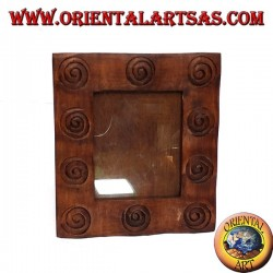 portafoto in legno intarsiate a spirali con bordo sagomato grande