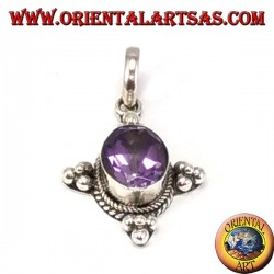 Silver pendant with gorgeous natural oval amethyst