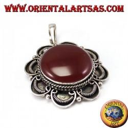 Silver pendant with round corniola, handmade