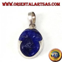Silver pendant with cammeo in natural lapis lazuli