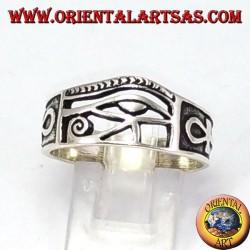 Anello in argento occhio Ra Horus con Ankh