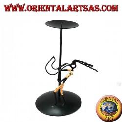 Iron-on candle holder iron saxophone player