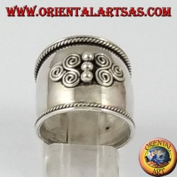 Silver wide band ring, Bali with two triskell