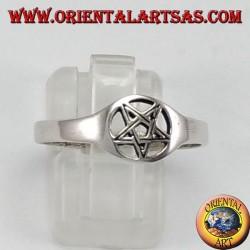 anello d'argento, pentacolo traforato piccolo