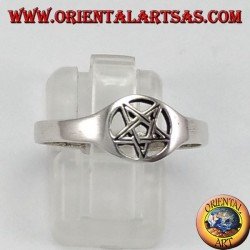 Silver ring, small perforated pentacle