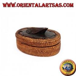 Scatola ovale con tartaruga media in midollino e legno