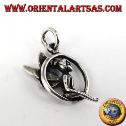 Silver pendant, Fairy sitting in the circle